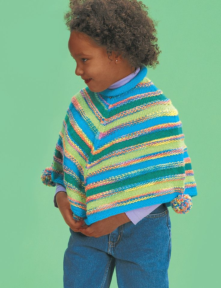 Knitting Pattern Striped Poncho : Yarnspirations.com - Patons Striped Poncho Yarnspirations Knit for Baby ...
