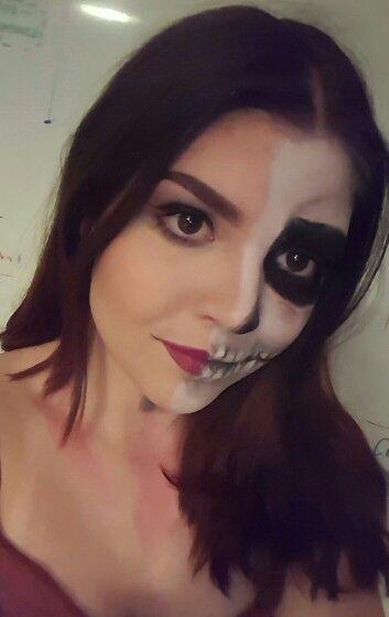 Half skull halloween makeup sfx