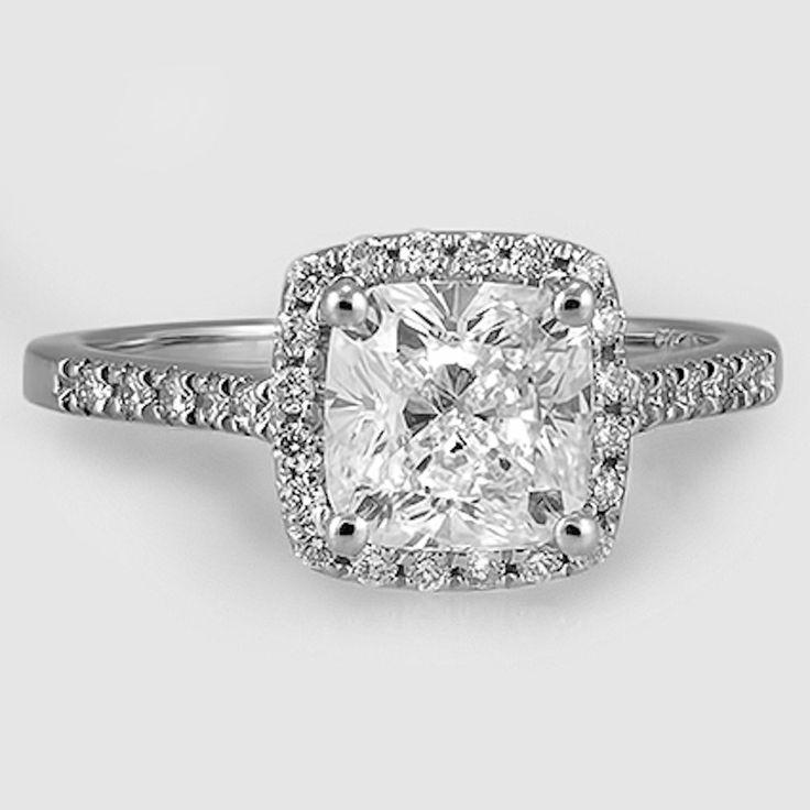 Platinum Sonora Halo Diamond Ring / / Set mit einem 1,51 Karat, Kissen, sehr gute …