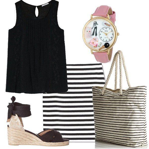 Outfit+spiritoso+e+semplice+per+essere+pronte+in+un+attimo.+Un+top+nero+con+dettagli+in+pizzo+abbinato+ad+una+gonna+bianca+a+righe+nere.+La+borsa+è+un+modello+shopping+a+righe+con+manici+in+corda+e+una+scritta+rosa,+si+abbina+perfettamente+al+simpatico+orologio+con+cinturino+rosa.+Ai+piedi+delle+espadrillas+nere+con+zeppa+in+corda.