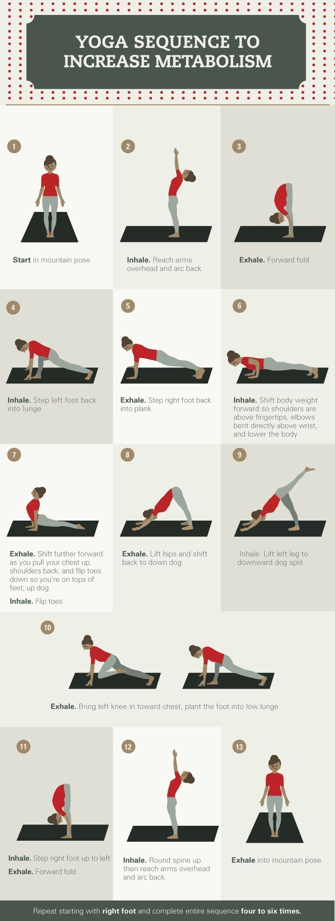 A typical sun salutation is a great way for the body to get moving, and increase sweat, breathing, and metabolism.