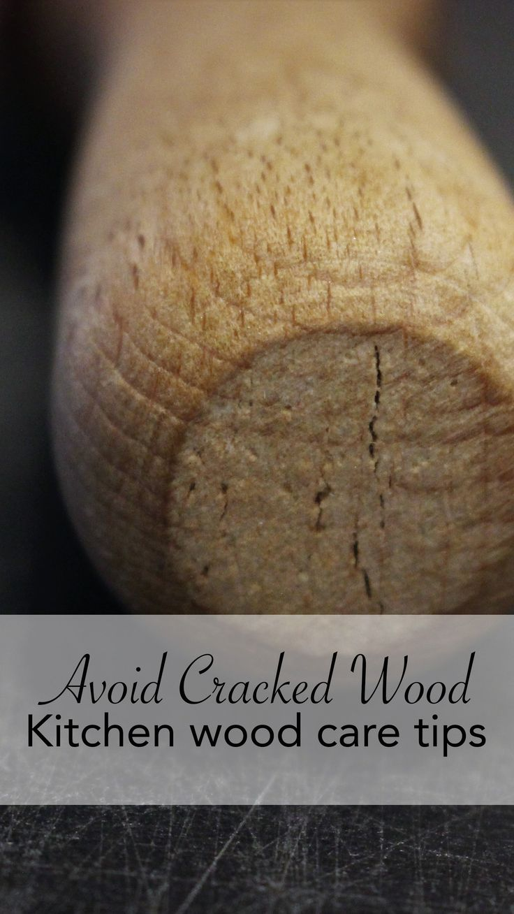 Wood is a little bit like leather.  Cows and trees are just fine out in the rain, but leather and wood can't handle getting wet.   Protect your wooden kitchen tools before they crack.  Click the link to find out how.