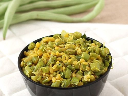 Beans Poriyal - A Healthy Mixture of Sir Fried Green Beans and Protein Rich Moong Dal with Fresh Coconut