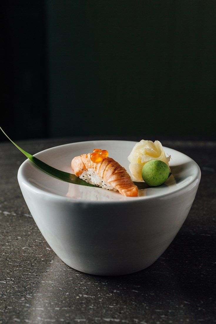 A beautiful salmon nigiri recipe from Hideki Hiwatashi, seared with a blowtorch to give a perfect finish. This seared sushi recipe is a fantastic salmon starter which could equally be served as an innovative canapé.