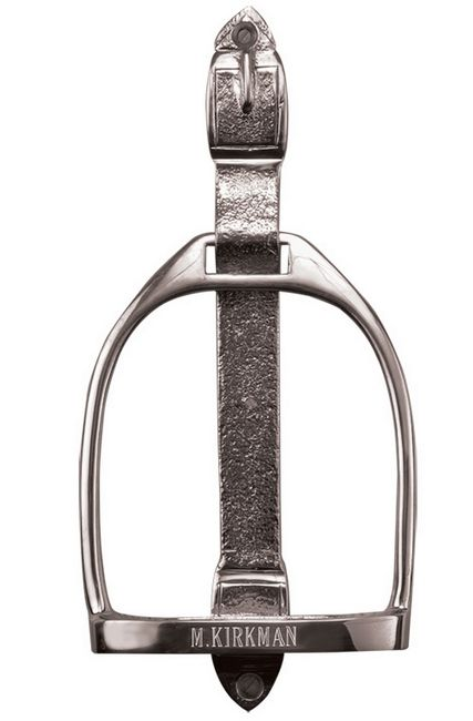 Chrome English Stirrup Door Knocker. A classic stirrup makes a great first impression to an equestrian home. Can be personalized with the name of your family or farm on this solid brass heavily chromed door knocker at no additional charge.