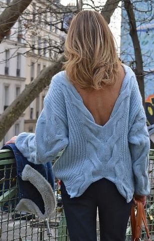Cable Knit V-neck Sweater by Caroline Receveur & Co