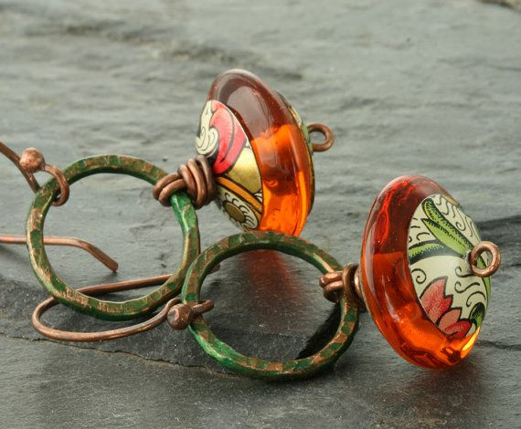 Orange Lampwork Earrings Pumpkin Orange Earrings Lampwork Glass Earrings Amber Copper Green Circle Autumn Fall Halloween Rustic