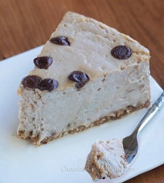 Secretly Healthy Cappuccino Cloud Cheesecake from Chocolate Covered Katie! Fluffy, mousse-like, and with a kick of coffee flavor.