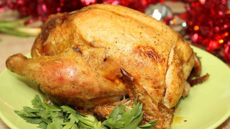 Запеченная курица, фаршированная овощами