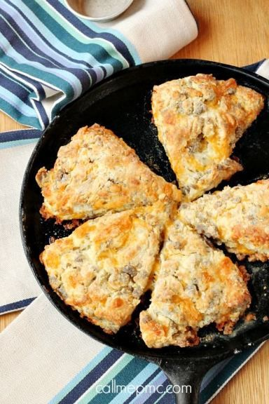 Bring on breakfast with these Sausage Cheese Scones! Filled with gooey cheddar, this recipe is sure to disappear the next time you host brunch.