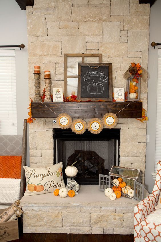 Warm and festive mantel fall decoration