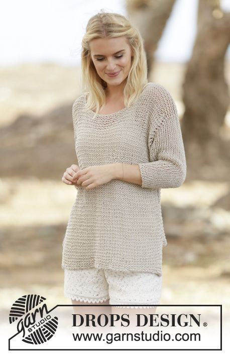 "#FreePattern now available! Knitted jumper in garter st and vent in ""Bomull-Lin"" #knitting"