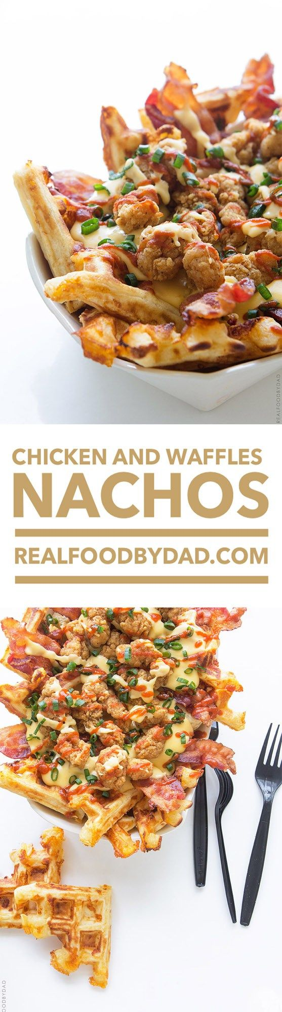 Chicken and Waffles Nachos`~ The Best Dad Ever Recipe! I Wish I Had though of this >>Breakfast for Dinner or Dinner for Breakfast<<