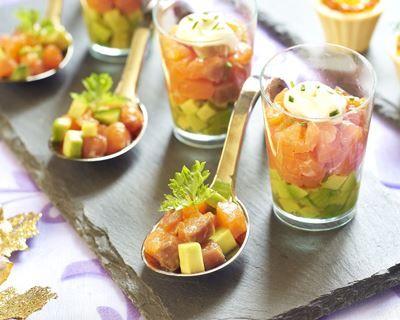 Verrine saumon, pomme et avocat