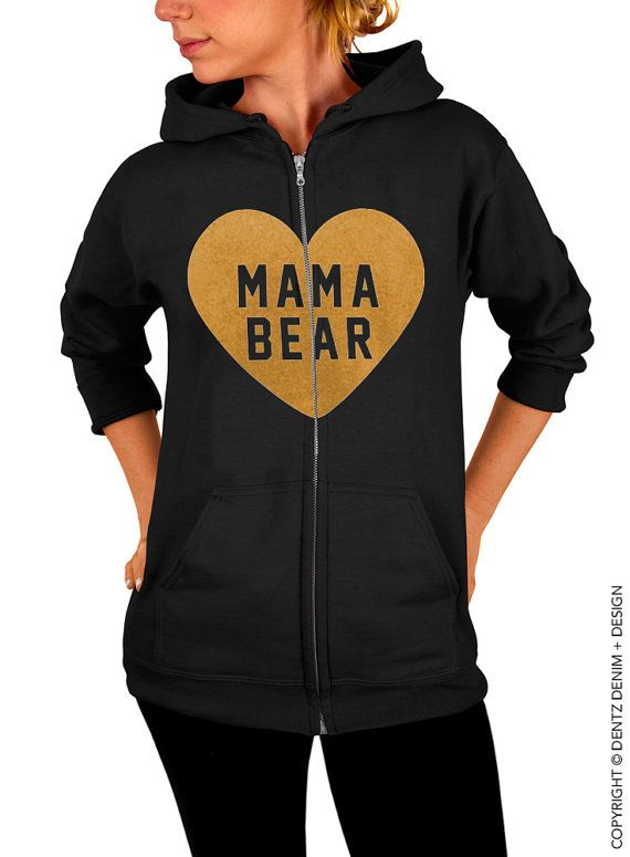 "Use coupon code ""pinterest"" Heart Mama Bear - Black with Gold Zip Up Hoodie - Hooded Sweatshirt by DentzDesign"