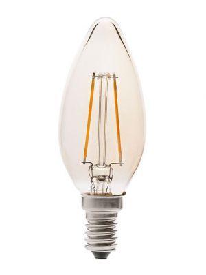 Bombilla Filamento Vela LED E14 2W 2200ºK Luz cálida