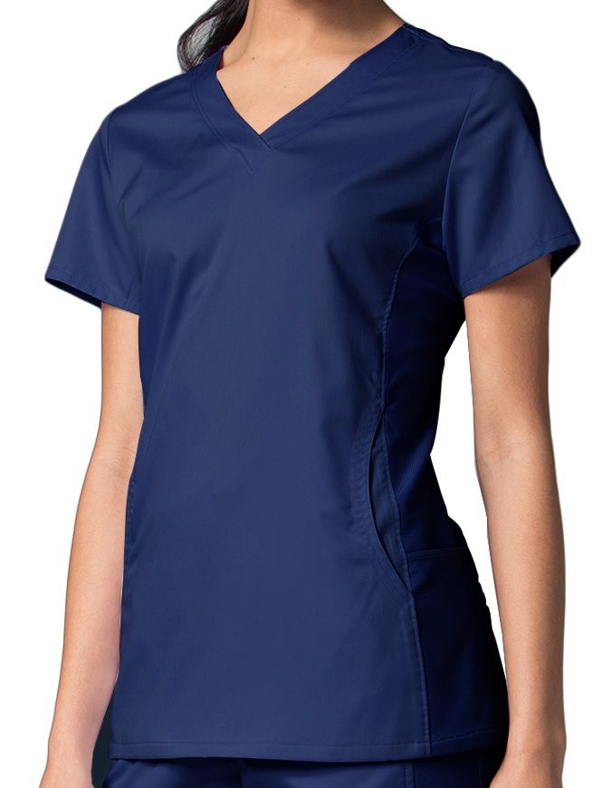 Maevn EON women's sporty mesh panel top. This scrub top is designed with comfort in mind. The side mesh panels keep you cool and dry through the use of COOLMAX fabric technology by The Lycra Brand. Pair it with our sporty mesh panel pant to get the ultimate benefits of this fabric design. #maevnscrubs #scrublife #nursing #nurse #scrubs