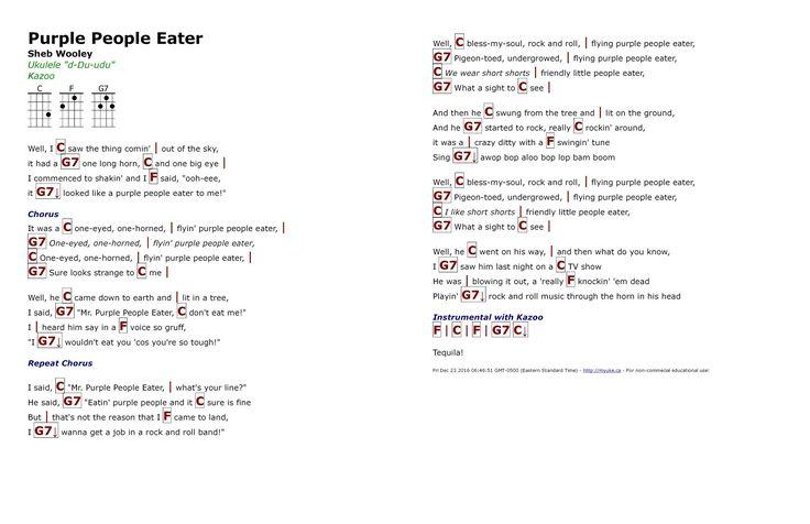 Purple People Eater (Sheb Wooley) - http://myuke.ca