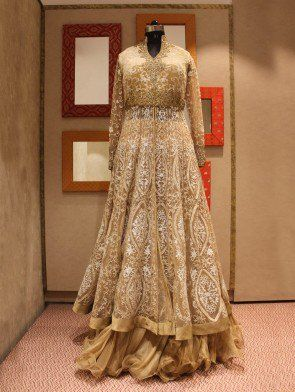 Cream Net Wedding Gown With Embroidery Work
