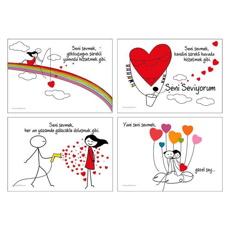 Meyou Tasarım Seni Sevmek Yazılı 4 lü Amerikan Servisi - evmanya.com