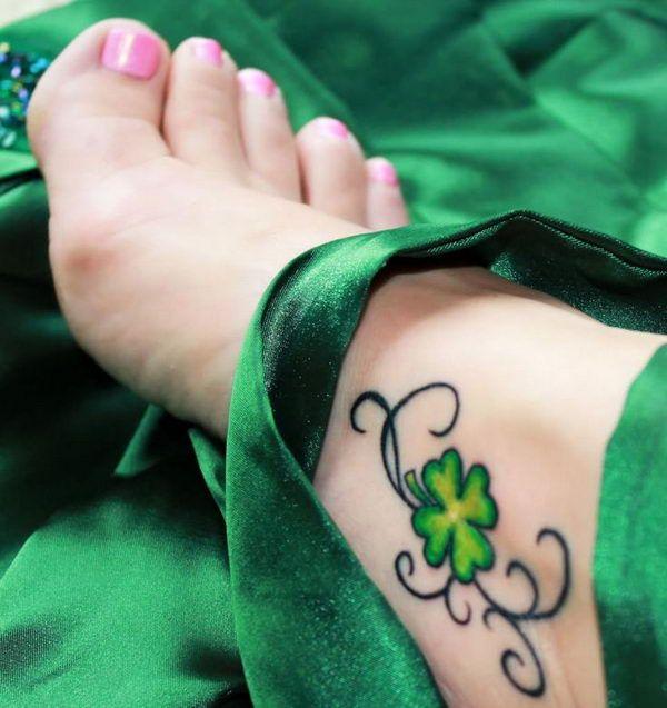 Four Leaf Clover Foot Tattoo - Cute Four Leaf Clover Tattoos, http://hative.com/cute-four-leaf-clover-tattoos/,