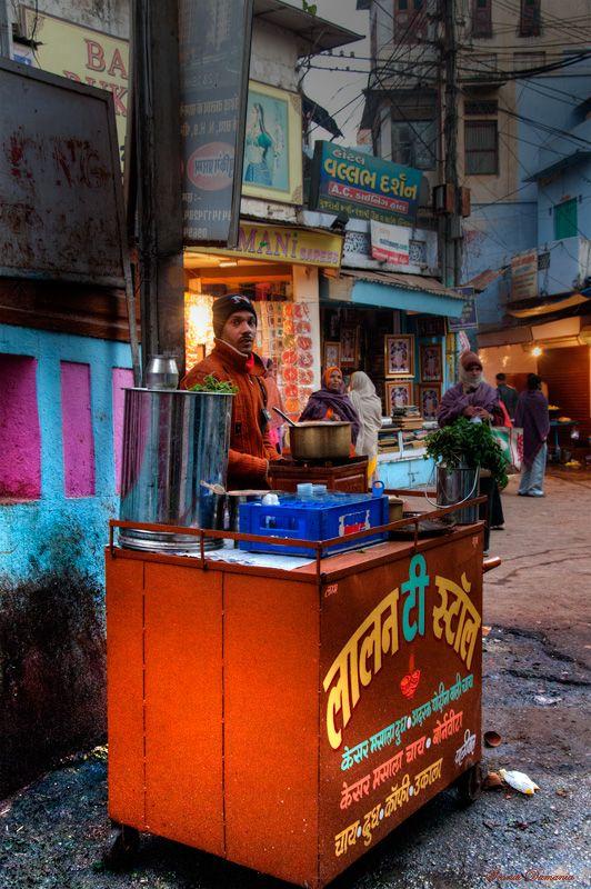 "Chai Tea and saying ""Chaiwalla"" - (Nathdwara, Rajasthan)  Love the morning tea here"