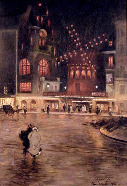 """mimbeau:  Paris - """"La Place Blanche au Moulin Rouge; effet du soir""""  1902  Edouard Zawiski"""