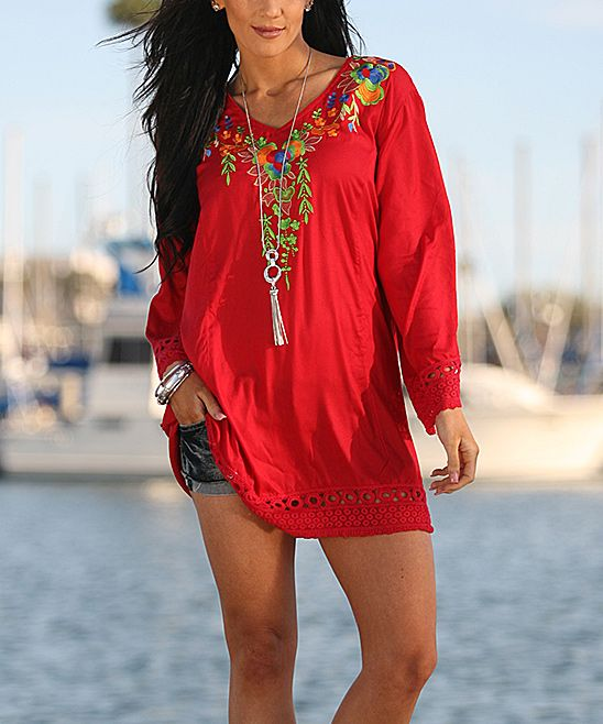 A bright floral-trimmed neckline adds a fresh splash of color to this breezy tunic that flaunts crocheted detail for a boho vibe.32'' long from high point of shoulder to hem100% rayonHand washImported