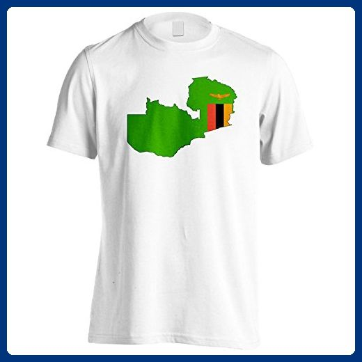 New Zambia Flag World Map Art Men's T-Shirt Tee i620m - Cities countries flags shirts (*Amazon Partner-Link)