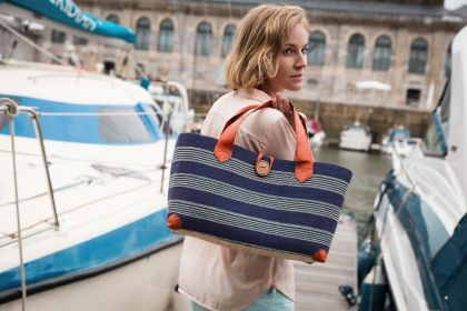 New for SS15 Marine tote in Navy and Cream #leather #raffia #sisal #button #drawstring #beachbag #strawbag #tote #basket