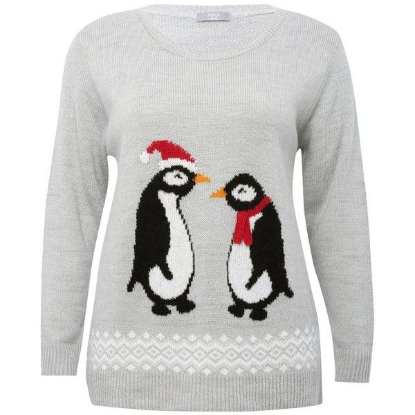 M&Co Plus Ladies Penguin Christmas Jumper With Glittering Scarf Detail... ($35) ❤ liked on Polyvore featuring tops, sweaters, grey, plus size, womens plus size sweaters, long sleeve knit sweater, plus size christmas tops, plus size jumpers and grey sweater
