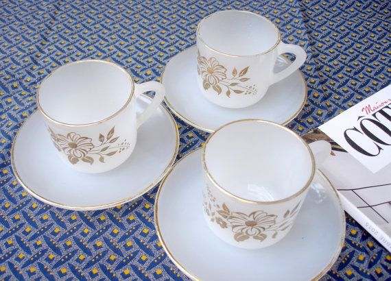 3 x Vintage French Arcopal espresso cups with saucers gold