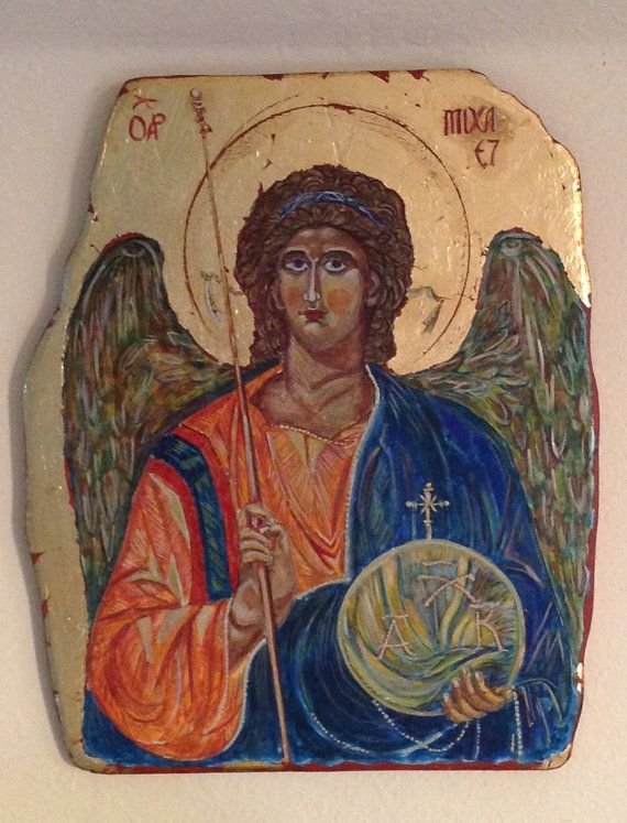 The Icon Saint Micheal. Hand painted by AtelierVenusDecor on Etsy