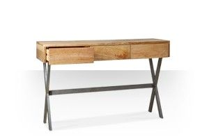 Swoon Editions Console table, contemporary style in mango wood and aged steel - £299