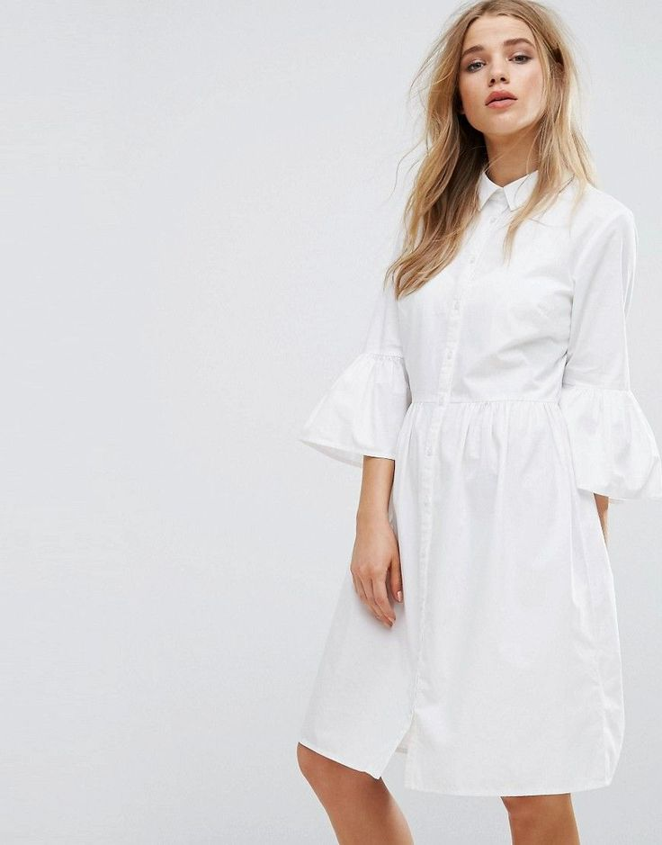 Gorgeous!! I love these sleeves! New Look Flute Sleeve Shirt Dress - White. Woven cotton, Spread collar, Button placket, Fluted sleeves #ad
