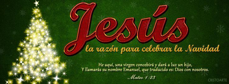 """Jesús: la razón para celebrar la Navidad. """"He aquí, una virgen concebirá y dará a luz un hijo, Y llamarás su nombre Emanuel, que traducido es: Dios con nosotros."""" - Mateo 1:23 (Reina-Valera 1960). -  Portadas para Facebook - Facebook covers"""
