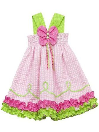 Rare Editions Girls 2T-6x Pink Lime Butterfly Applique Halter Seersucker Dress
