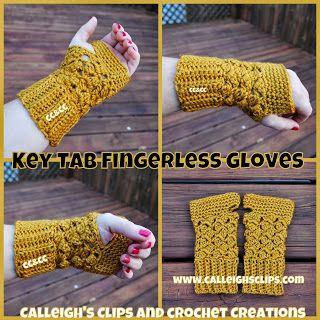 Calleigh's Clips & Crochet Creations: Free Crochet Pattern - Key Tab Fingerless Gloves, thanks so xox