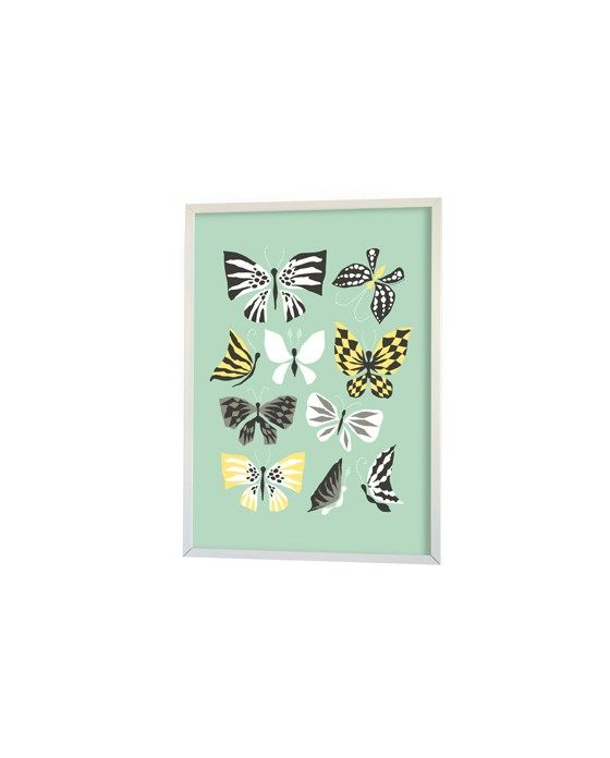 50x70cm - Graphic Print - Butterfly family - Aqua - Littlephant