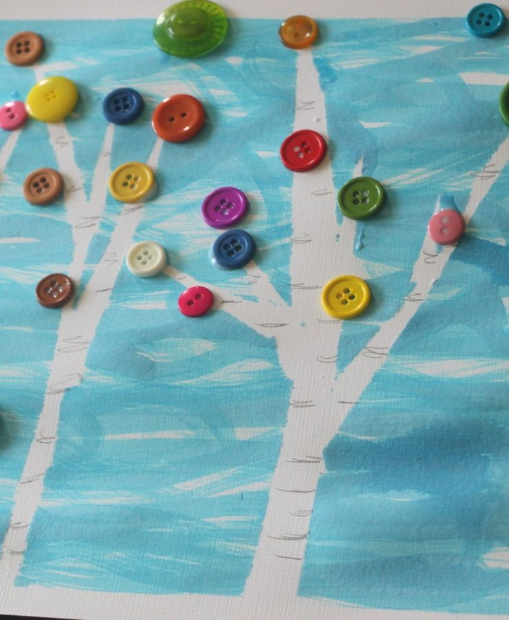 Embellished tree art for kids to make for Artbor Day! When you can't plant a tree for Artbor Day, paint some tree art!