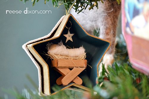 Stars will play a major role in this tree. I found it the perfect shape to go back to again and again as it not only represented the star in the east the Wise Men followed, but brings some elegance in as well. I love to use paper mache boxes as a way to add some dimension, so this little star