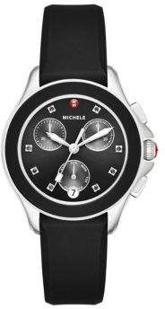 Cape Chronograph Crystal Stainless Steel & Silicone Strap Watch/Black #watches #womens