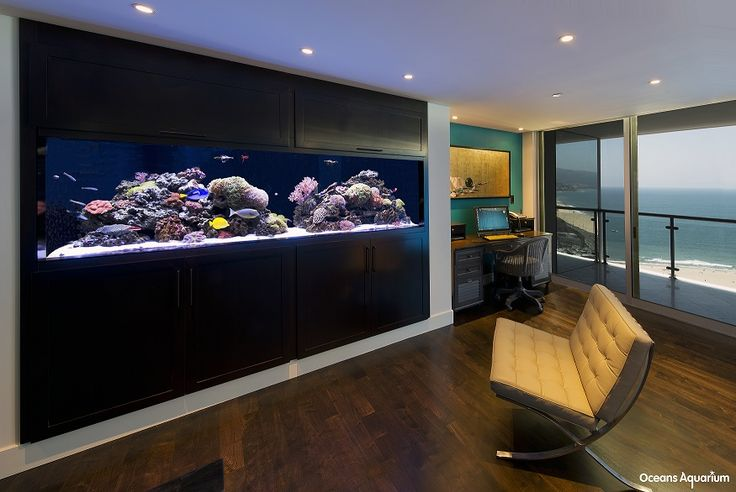 300 gallon acrylic custom living reef aquarium in-wall with custom cabinetry. This tank is 16 floors up in the Ocean Towers in Santa Monica - a great compliment to the view!