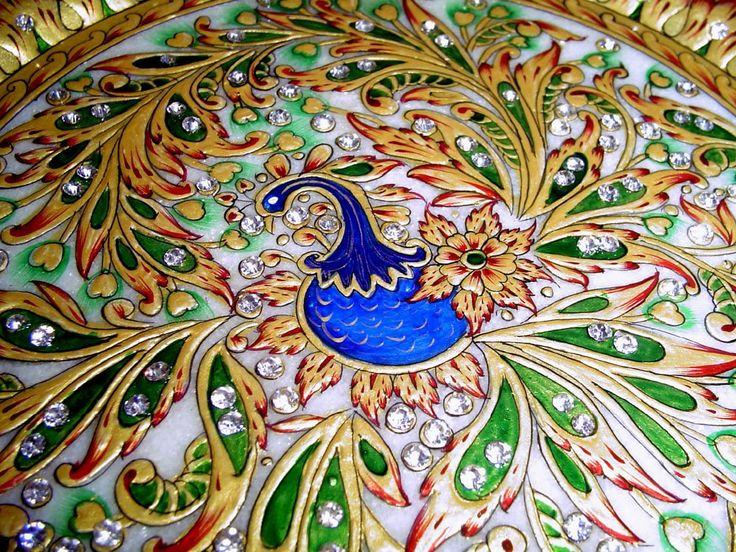 "Amazon.com - 9"" Indian Handicraft Marble Jaipuri Gold Kundan Meenakari Painted Plate - Decorative Plates"