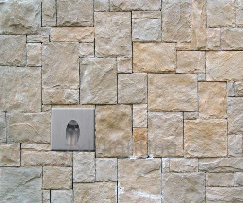 2x 1W LED Lampe Murale Spot Carré Encastrable Coin Mur Escalier Chemin luminaire
