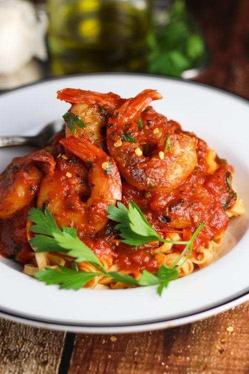 Shrimp Fra Diavolo - Spicy + Doubly Spiked with Brandy & White Wine - Can't be beat!!! platingsandpairings.com