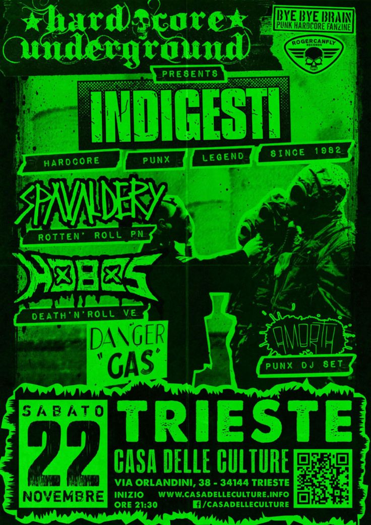 22/11/2014 - HARDCORE UNDERGROUND: INDIGESTI (VC) + SPAVALDERY (PN) + HOBOS (VE) + AmorTh Punx DJ Set Live @CdC, Trieste #hardcorepunk #punkflyers #hardcoreundergroundts #indigesti #spavaldery #hobos #amorth #hardcore #punk #live #fvg #casadelleculture #trieste