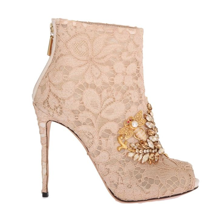 On Sale €   #DolceGabbana #Boots Beige Crystal Lace Booties Stiletto Shoes    #Beige DOLCE & GABBANA Gorgeous brand new with tags, 100% Authentic Dolce  ...