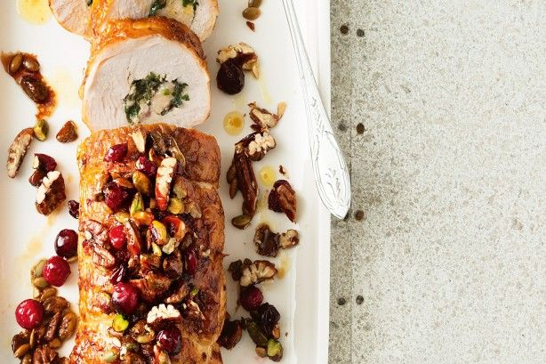 Garlic and herb rolled turkey with Christmas crumble