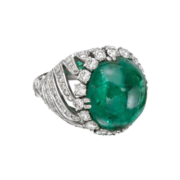 David Webb Emerald Bead & Pavé Diamond Bombé Ring